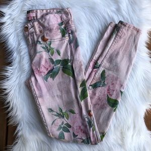 [Ted Baker] Floral Print Pink High Rise Jeans - 25